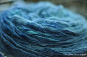 "Hand Dyed Angora/Merino Pencil Roving ""Baltic"""