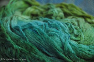 Angora Pencil Roving: Greens